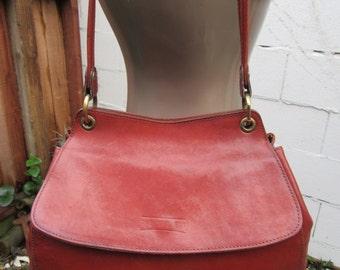 Texier Sienna Bag Brown Leather Satchel Purse Handbag Crossbody 1980s
