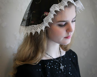 Evintage Veils~St. Therese Little Flower Black  Princess Style Traditional Catholic Embroidered  Lace  Mantilla Chapel Veil