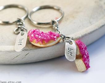 BFF keychain, best friends keychain intial initial keychain, Donut keychain, Best Friends gift, BFF, Sweet keychain, Friendship keychain