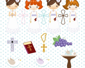 First Communion, Baptism, Church, Christening and Baby Shower Clipart Set - PNG File - Instant Download