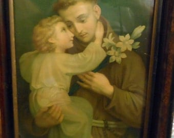 Saint Anthony of Padua Rustic 1847 Chromolithography Benziger Brothers --Looks like a painting