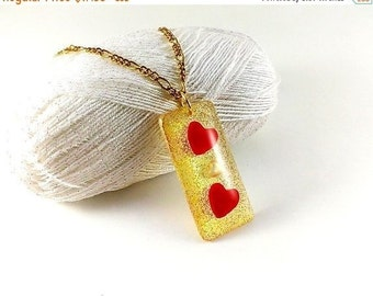 SALE 20% OFF Heart pendant necklace Love pendant Gold pendant Red heart jewelry Golden pendant Red hearts Gold white Mother's Day gift