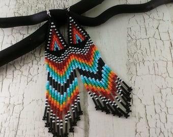 Boho earrings Long earrings Dangle earrings Indian Beaded earrings Tribal earrings Black earrings Chandelier earrings Large earrings