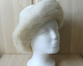 Vintage Real American Light Cream Mink Fur and Felt Hat H3