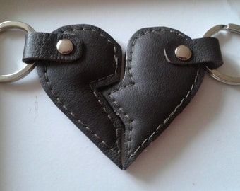 Valentine's Leather Split Heart Keyring