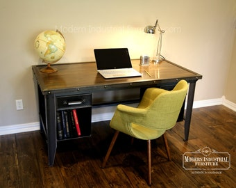 Modern Industrial Office Furniture | Machinist Style Desk | Riveted Table Bookcase | Homework | Vintage Drawers