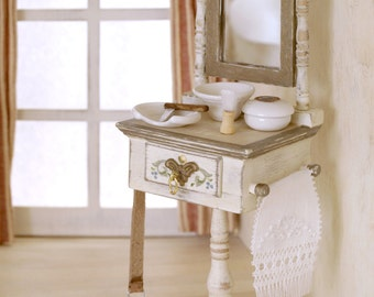 Antique handpainted wood Shaving furniture with mirror. 1:12 dollhouse scale