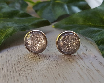Resin 12mm Button Stud Earrings - Hypo-Allergenic Surgical Steel