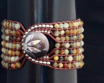 Sun Flower/Flower jade semi precious stones/handmade/