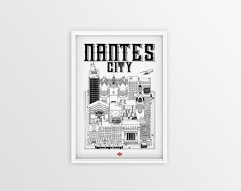 Illustration of Nantes City - series * Travel With Me * | Black and white | 21 x 29.7 cm