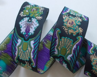 "Woven Jacquard Ribbon | Jacquard Trim | 1-1/4"" Purple~Green~Black 