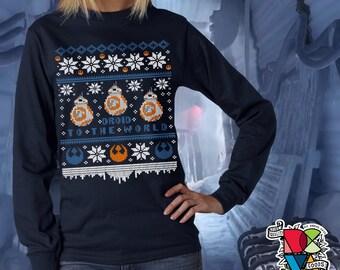 Droid to the World Sweater Shirt | Star Wars Christmas Sweater | Christmas Sweater | BB8 Shirt | Star Wars Shirt | Mens Womens Unisex Shirts