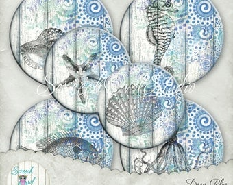 """Marine Coaster Collage Sheet, Button Machine Ready 4"""" Coasters, Round Coasters,  Paper Craft Supplies, Printable Images - 'Deep Blue'"""