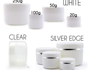 White Plastic facial cream Jars with screw lids - Round empty Bottle - Skincare SPA cosmetic