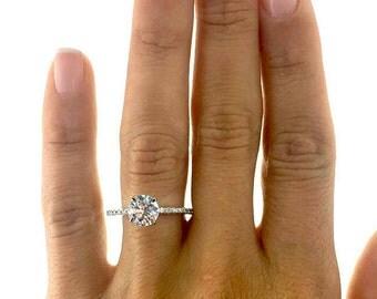 2.63 Carat E/SI1 Round Brilliant Cut Diamond Engagement Ring14K White Gold #J75237  FREE SHIPPING
