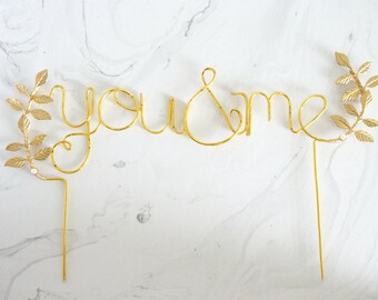 Gold you and me wedding cake topper, Cursive You & Me gold cake topper, Leaf cake topper, Rustic chic wedding, Woodland, Calligraphy topper