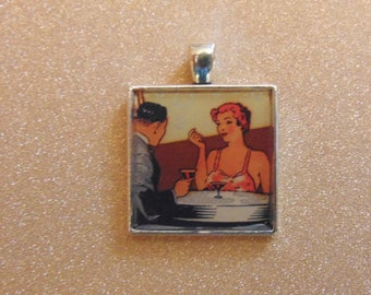 Vintage matchbook bezel necklace pendant keychain Art Deco couple drinking jewelry