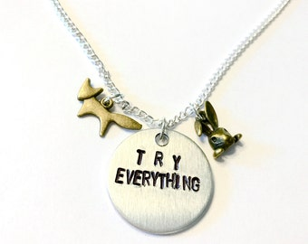"""Zootopia Inspired Hand-Stamped Necklace - """"Try Everything"""""""