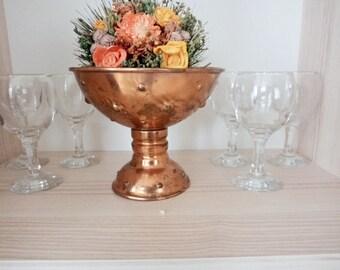 Vintage Copper Pedestal Bowl, Candy Bowl, Handmade Copper Bowl, Fruit Bowl, Easter Bowl, Centerpiece decor