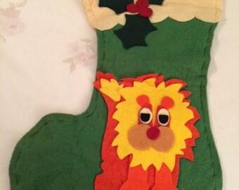 Vintage Handcrafted Felt Lion Christmas Stocking