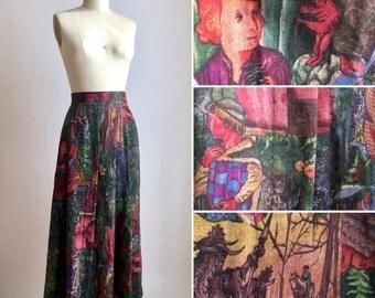 vintage novelty print skirt M ~ 80s renaissance scenic skirt