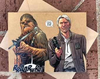 """Star Wars - Han Solo and Chewbacca """"We're Home"""" Comic Book Greeting Card (Blank)"""