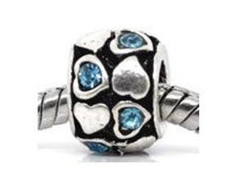 Blue Rhinestone Heart Bead, Silver Charm, Spacer Wheel, Large Hole Bead, European Bead, Charm Bracelet Bead, European Charm, Big Hole Bead