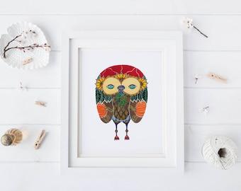 Pumpkin Owl, Watercolor Art Print