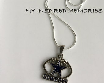 Free Shipping! Dallas Cowboys necklace, sterling silver chain