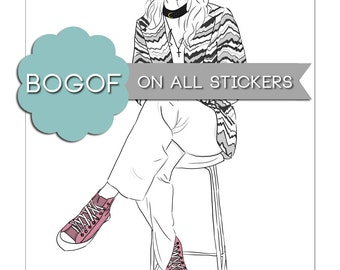 Pink Converse Sticker One Direction Harry Styles Another Man Art Drawing Illustration Portrait Stationery