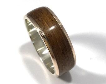 mens wedding band, wood ring, wood wedding band, wooden ring, mens wood wedding band, bronze and teak ring, wood and metal ring, teak wood