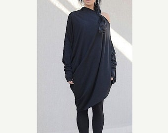 Oversized, off shoulder dress, women's dress, comfortable, stylish dress, mid knee black dress, plus size dress, loose fit, women's dress