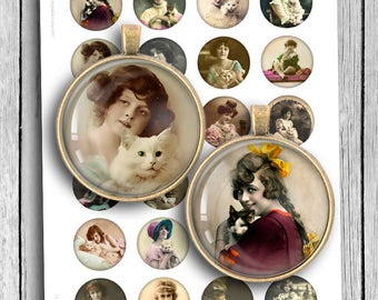 Girls with Cats 1 inch 1.5 inch Printable Round images Digital Collage Sheet Digital Download