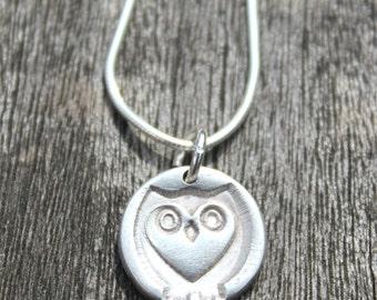 Owl gift, cute owl, owl lover, owl necklace, owl charm, tiny owl, tiny silver owl, owl accessories, owl jewelry, owl jewellery, heart owl
