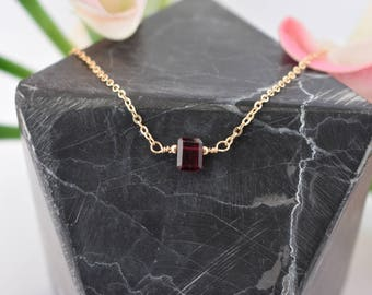 Petite Garnet Necklace/Gold/Silver/Red Garnet Necklace
