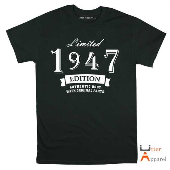 Limited Edition 1947 t shirt gift ideal 70th birthday gift for man, a son or a father who's celebrating a seventieth birthday: Utter Apparel