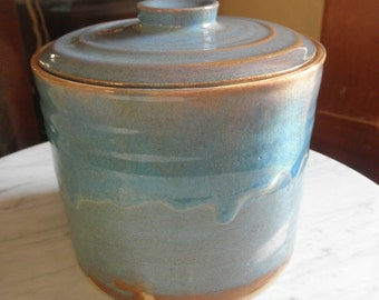 Modern American(?) Blue-glaze pottery Biscuit or Cookie Jar