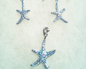 Starfish jewelry starfish pendant starfish earrings ocean jewelry Beach jewelry fish rhinestone jewelry silver jewelry