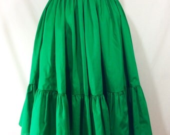 Womens Vintage Green Western Ruffled Circle Skirt size M