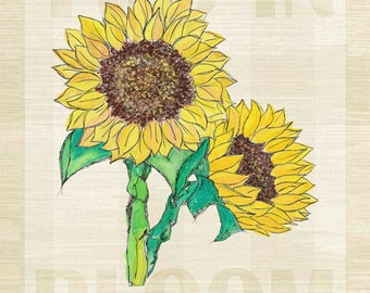 Two in Bloom Sunflowers Metal Sign, Charming Wall Art, Garden, Spring   JP1101