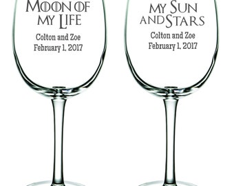 Game of Thrones Wine Glasses - Moon of My Life - My Sun and Stars - Personalized-Birthday-Toasting Flutes  - Glasses - Wedding - Anniversary