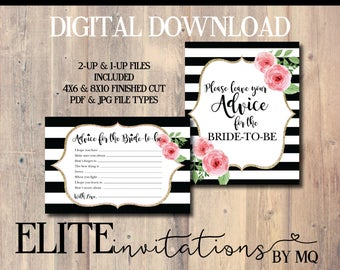 Kate Spade Themed Advice Card & Sign | Stripes, Gold, Glitter, Floral, Spade, Bridal Shower