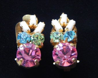 Vintage Germany Earrings Small Rhinestone Clip On Earrings Pink Green Blue White Rhinestone Earrings Signed Made In Germany