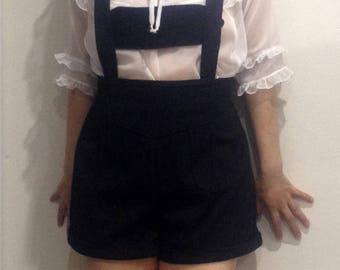 Steampunk pants, Short overalls, Kawaii shorts, Lolita, Black overalls, High waisted shorts, Lederhosen, Folk punk, Playsuit, Retro romper