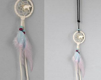 Dream Catcher Necklace, Dreamcatcher Jewelry, Feather Necklace, Boho Necklace, White Bear Necklace, Gypsie Jewelry