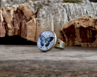 Blue butterfly ring, Butterfly jewelry, Blue ring Nature ring, Art butterflies ring gift for her, Print photo ring, Adjustable ring WJ 006