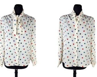Vintage 1990s Bleyle Geo Print Secretary Blouse / Tie Neck Top / Red Purple Green Black / Square and Triangle Print / Size 12