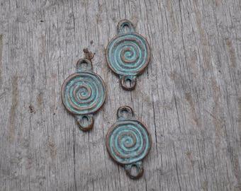 Bronze Patina Spiral Charm