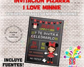 Invitation I love Minnie type slate Birthday Chalkboard - editable texts - instant download