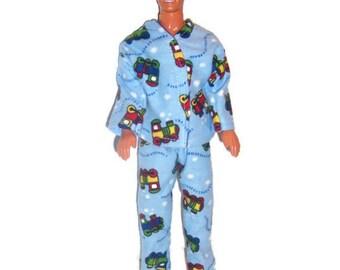 His Fashion Doll Clothes-Train Print Flannel Pajamas